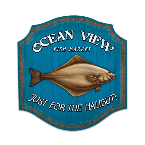 Just For The Halibut Metal Sign Wall Decor 20 x 20