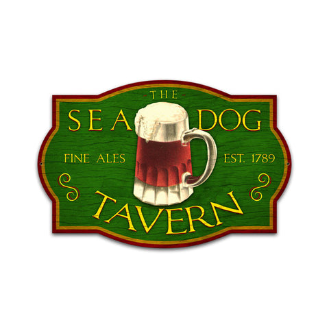Sea Dog Tavern Metal Sign Wall Decor 24 x 16