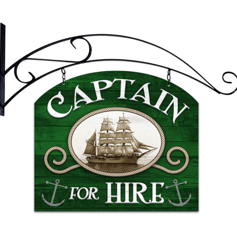 Captain For Hire Metal Sign Wall Decor 18 x 15