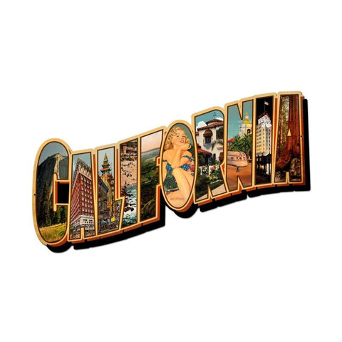 California Landmarks Metal Sign Wall Decor 28 x 15