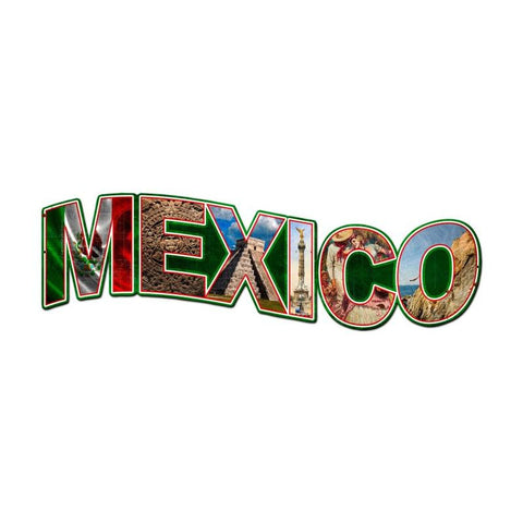 Mexico Landmarks Metal Sign Wall Decor 28 x 9