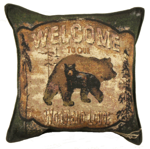 Woodland Lodge-Bear 18 Tapestry Pillow