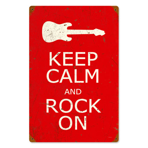 Keep Calm and Rock On Metal Sign Wall Decor 12 x 18