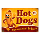 Hot Dogs Metal Sign Wall Decor 18 x 12