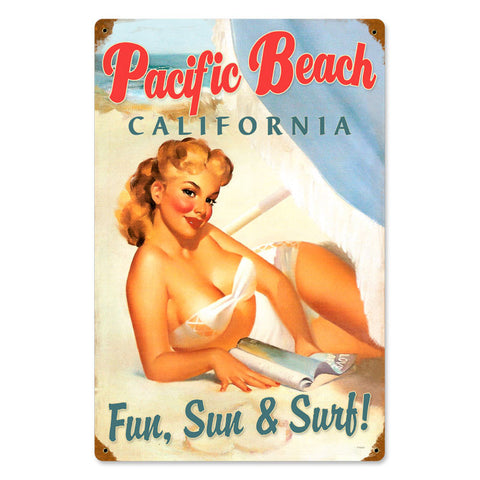 Pacific Beach Pinup Metal Sign Wall Decor 12 x 18
