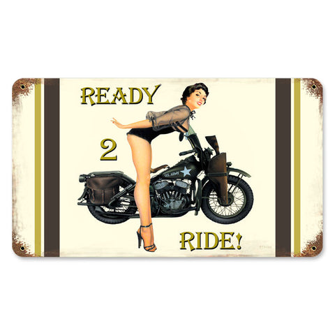 Ready 2 Ride Metal Sign Wall Decor 14 x 8