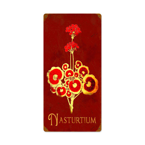 Nasturtium Metal Sign Wall Decor 12 x 24