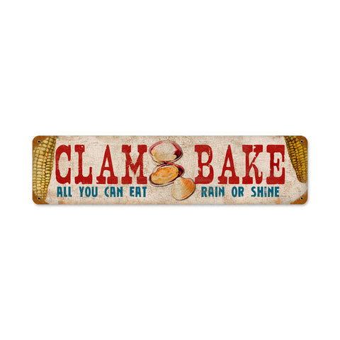 Clam Bake Metal Sign Wall Decor 20 x 5