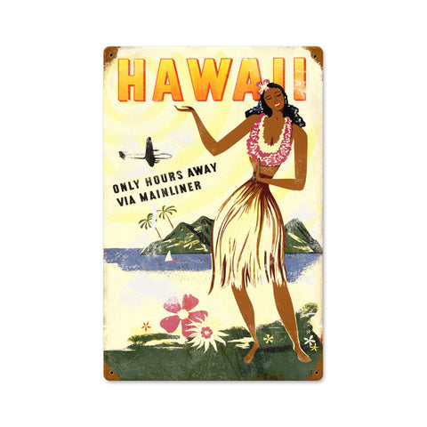 Hawaii Hours Away Metal Sign Wall Decor 12 x 18
