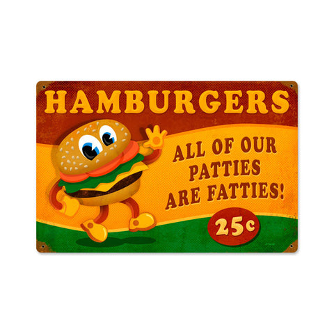 Hamburger Fatties Metal Sign Wall Decor 18 x 12