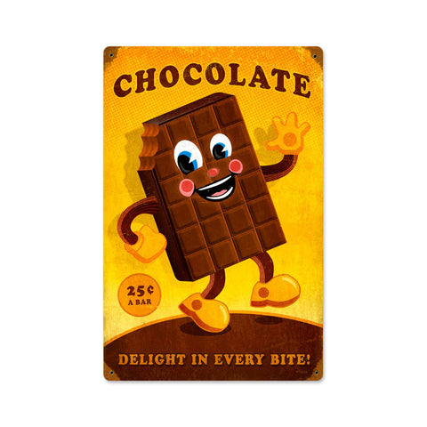 Chocolate Man Metal Sign Wall Decor 12 x 18