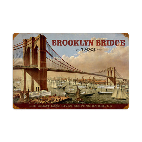 Brooklyn Bridge Metal Sign Wall Decor 24 x 16