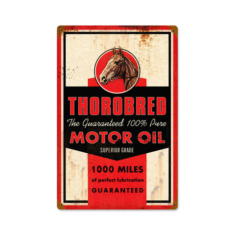 Thorobred Motor Oil Metal Sign Wall Decor 12 x 18