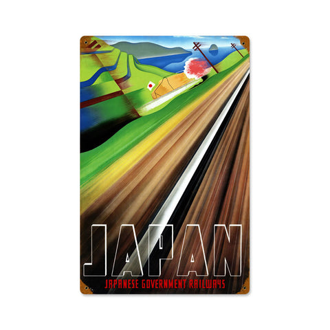 Japan Railways Metal Sign Wall Decor 12 x 18