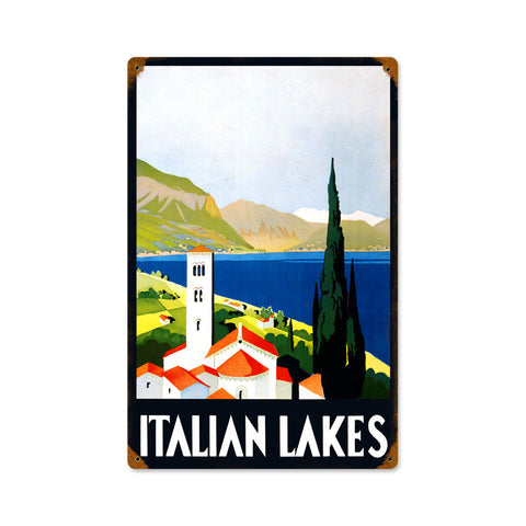 Italian Lakes Metal Sign Wall Decor 12 x 18