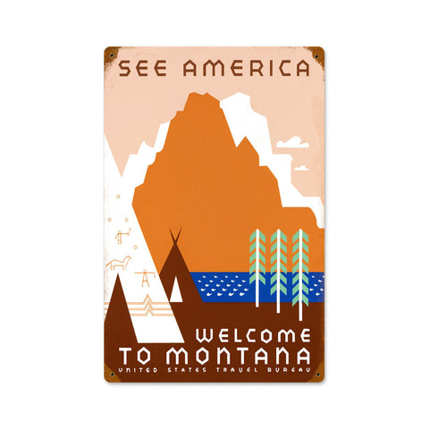 See America Metal Sign Wall Decor 12 x 18