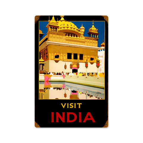 Vista India Travel Metal Sign Wall Decor 12 x 18