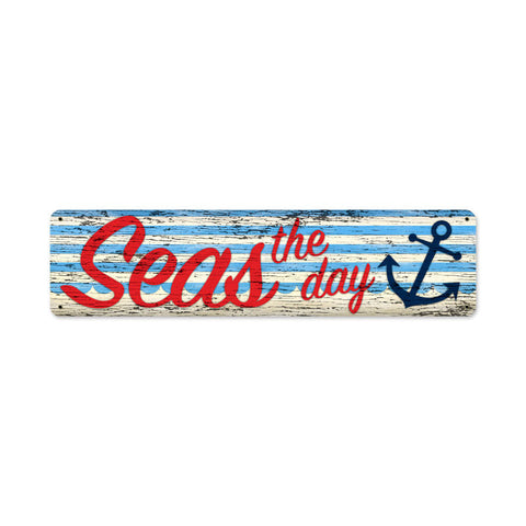 Seas The Day Metal Sign Wall Decor 20 x 5