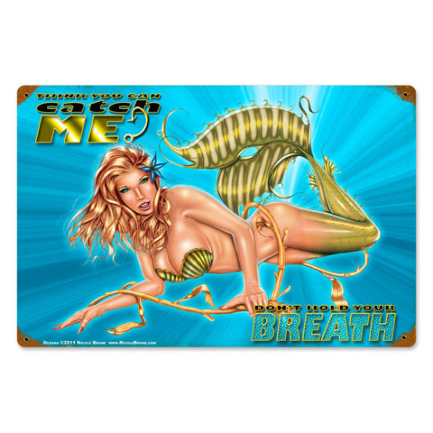 Oceana Mermaid Metal Sign Wall Decor 18 x 12