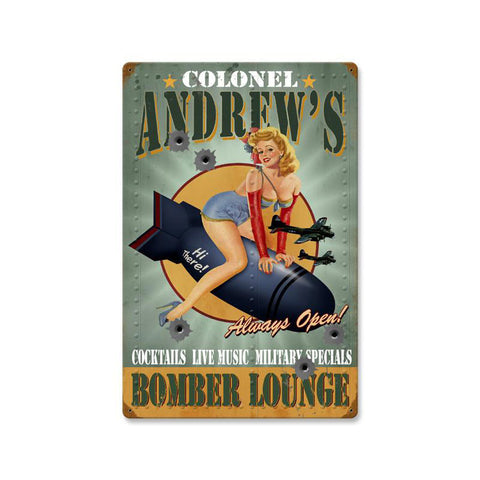 Bomber Lounge Metal Sign Wall Decor 16 x 24