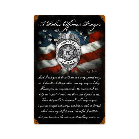Police Officers Prayer Metal Sign Wall Decor 12 x 18
