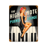 High Note Piano Lounge Metal Sign Wall Decor 12 x 15