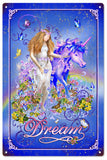 Vintage Fairy And Unicorn Dream Sign