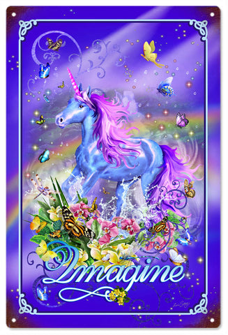 Vintage Imagine Unicorn Sign