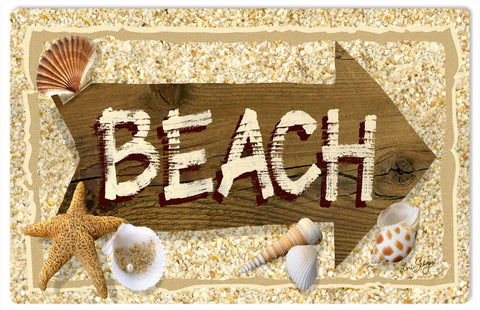 To Beach Seashell Sign 9x12
