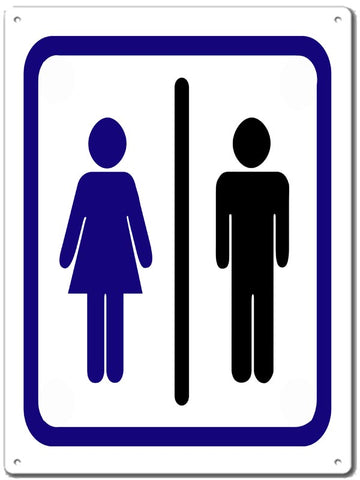 Women And Mens Restroom Sign 9x12