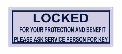 Locked For Your Protection Sign 12x4.5