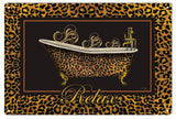 Vintage Leopard Claw Tub Relax Sign