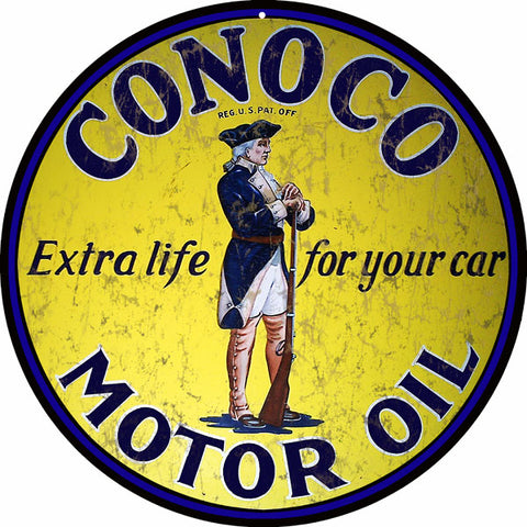 Vintage Conoco Motor Oil Sign Round 14