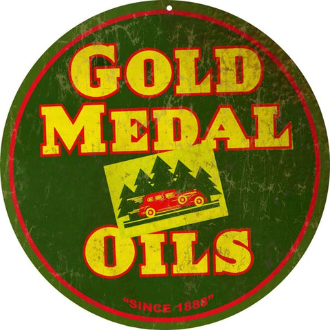 Vintage Gold Medal Oil Sign 14 Round