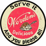 Vintage Wordens Ice Cream Sign 14 Round