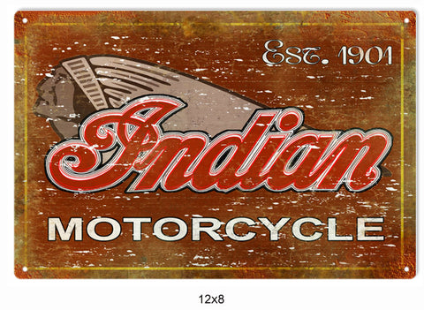 Classic Indian Motorcycle Sign 8x12