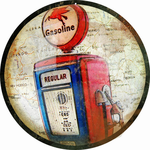 Vintage Gasoline Sign 14 Round
