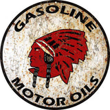 Vintage Indian Gasoline Sign 14 Round