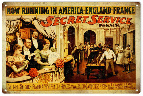 Vintage Secret Sevice Play Sign