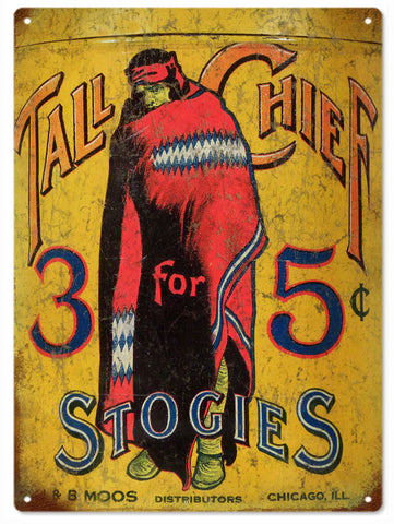 Vintage Tall Chief Cigar Sign 9x12