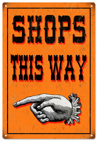Vintage Shops This Way Sign