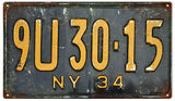 Vintage Old NY License Plate Sign 8x14
