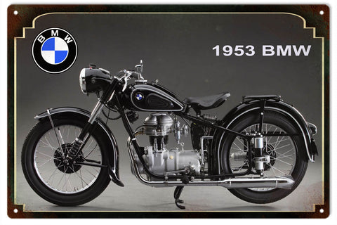 Vintage 1953 BMW Motorcycle Sign