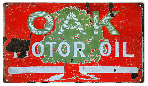 Vintage Oak Motor Oil Sign 8x14