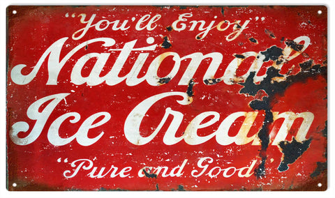 Vintage National Ice Cream Sign 8x14