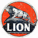 Vintage Orange Lion Motor Oil Sign 14 Round
