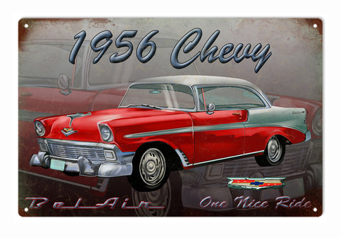 Vintage 1956 Chevy Bel Air Sign 16x24