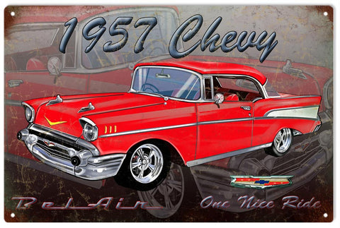 Vintage 1957 Chevy Bel Air Sign 16x24