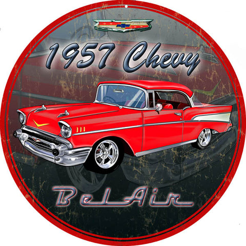 Vintage 1957 Chevy Bel Air 14 Round Sign