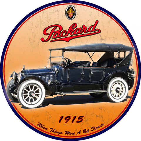 Vintage Packard 1915 Automobile Sign 14 Round